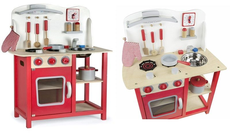 cocina madera infantil leomark classic roja oferta